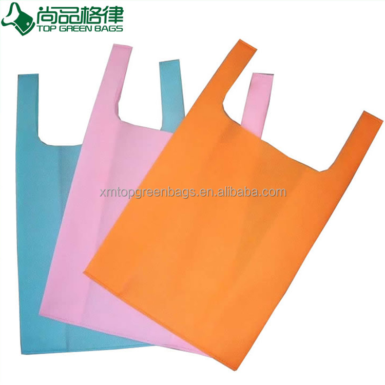 machine made shopping grocery bag eco non woven t shirt bag