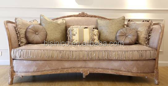 Victorian Design Elegant Pink Patterned Fabric Three Seat Sofa/European Classic Nice Carving Living Room Sofa Set Home Furniture