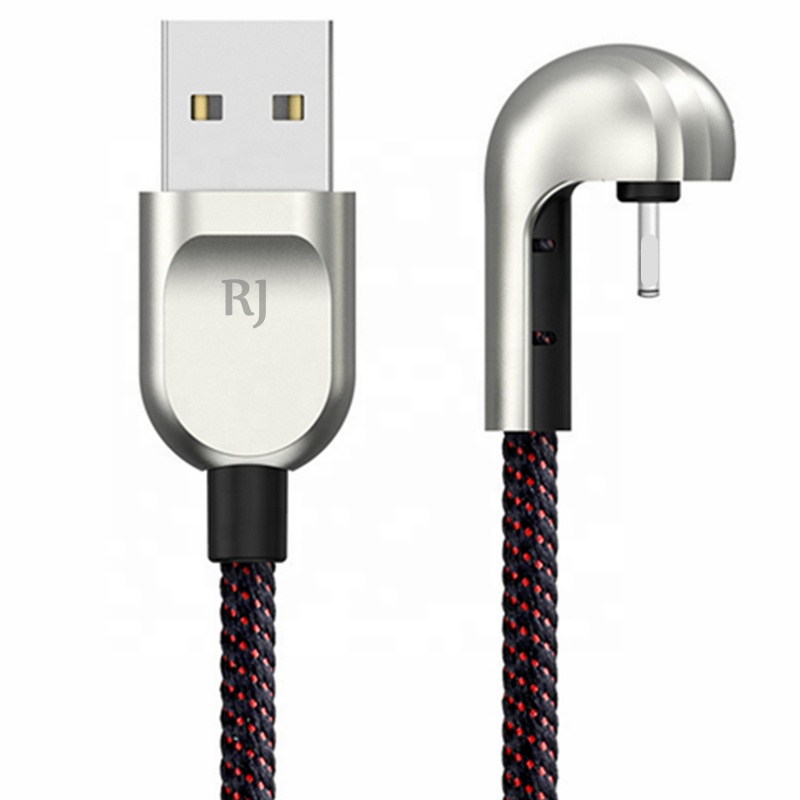 U-shaped Zinc Alloy 180 Degree Right Angle Phone Game Charger Cable 2.1A Fast Micro Usb Charging Data Cable For Iphone