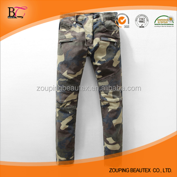 2017 new camouflage color man biker jeans