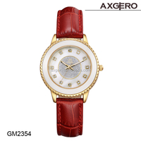 Women Ceramic watch Fashion genuine leather band with alloy case Wrist watches