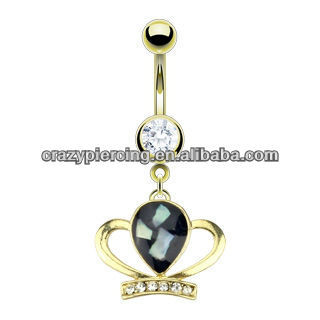 316l steel princess crown belly button ring piercing