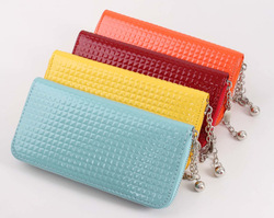 Hign-end long pu leather smart wallet for ladies