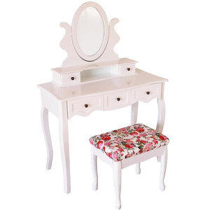 White simple modern mirrored dressing table set designs with price