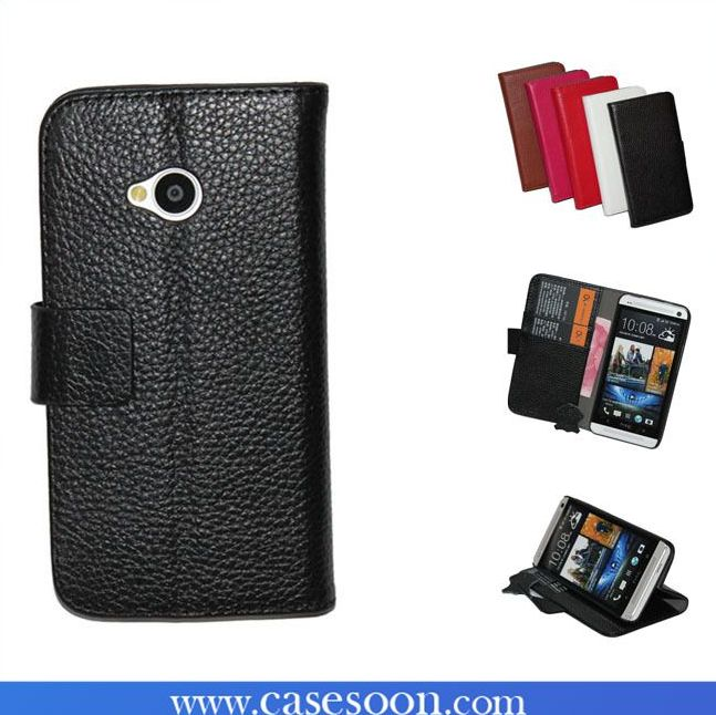 NEW Genuine Leather Case for HTC ONE M7 With Stand,For htc one 7 case