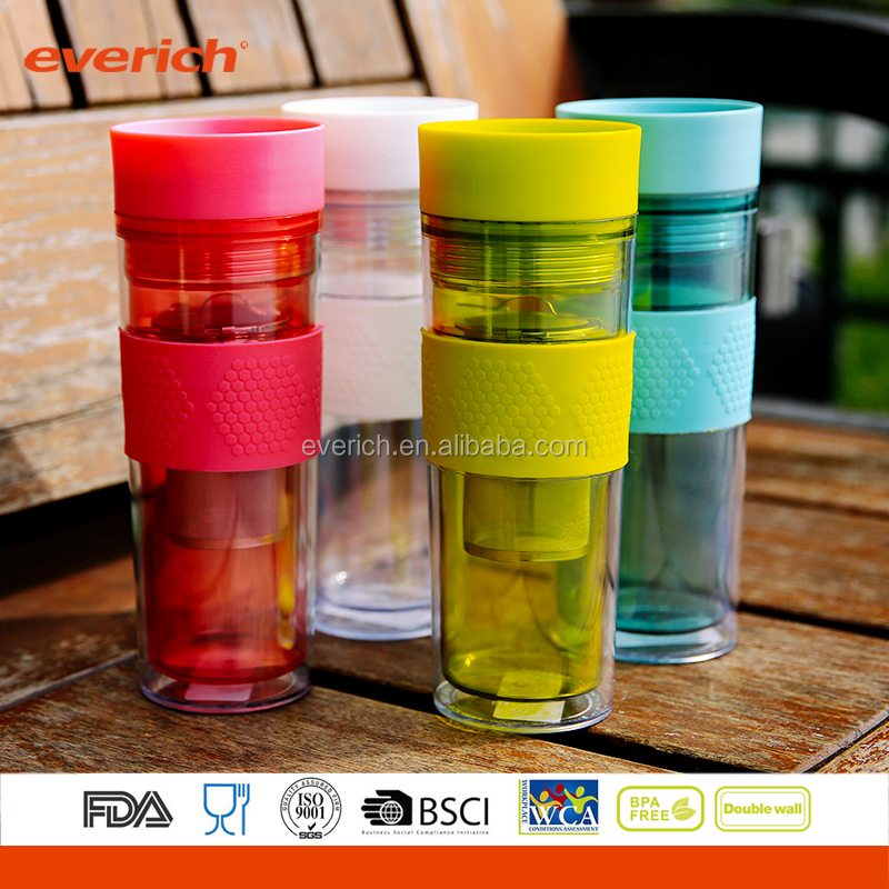 Everich 350/450ml Double Wall Insulated Plastic Tea Cup With Stainless Steel Tea Infuser