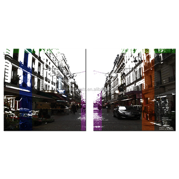 Abstract Photos of Cityscape Street View Giclee Print Wholesale Framed Canvas Painting 2 Panels
