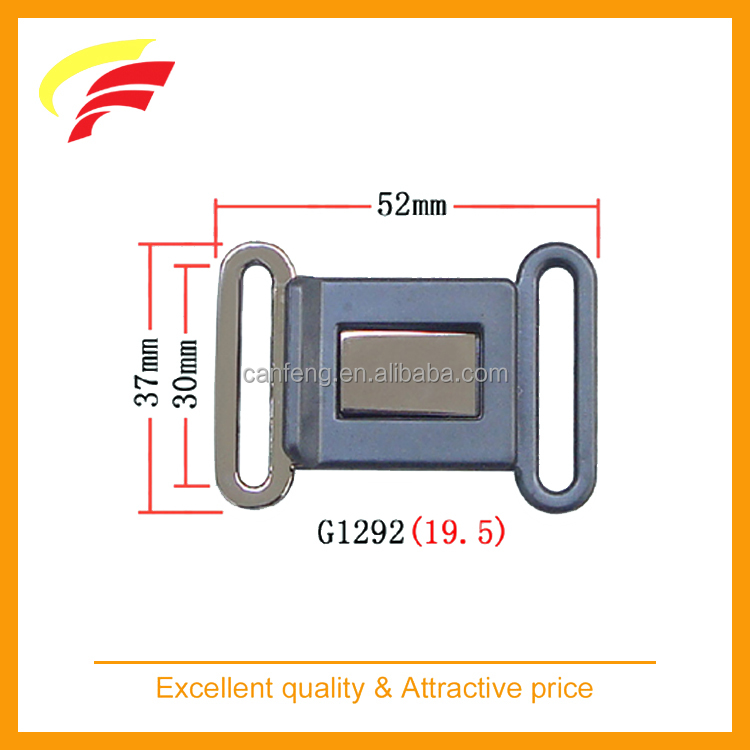 fashion zinc alloy plus plastic interlocking belt buckle , metal side release belt buckle