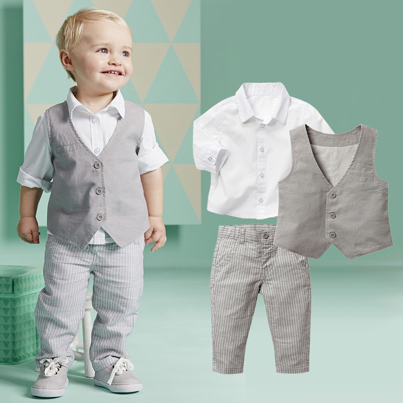 S64100A Spring Infant Clothing Handsome Baby Boys Clothes European Style Three Piece Set
