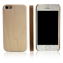 Hot selling maple PC bottom phone case, custom logo wood back cover for iPhone 5