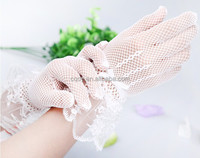 2015 Hot design Ivory clean cheap chinese bridal gloves,lace bridal wedding gloves,handmade flower girl gloves