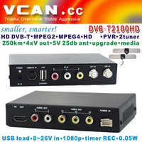 Mpeg4 dvb-t tv decoder box DVB-T2100HD-652 Car TDT TNT HD SD DVB-T Receiver MPEG4/H.264 dual tuners, USB Recorder