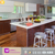 High gloss Lacquer face match with wood designs for small kitchen cabinets