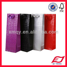 Promotional luxury UV ink printing colorful wine paper bags with satin ribbon handle