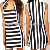 Women black white striped mini chiffon mixed color dress 2014