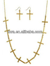 Fashion Linked Cross Necklace Set gold plated jewelry sets hammered crosses for jewelry