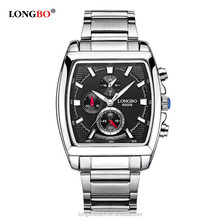Longbo brand times square quartz watches japan movt 3 atm water resistant high quality luxury men watch