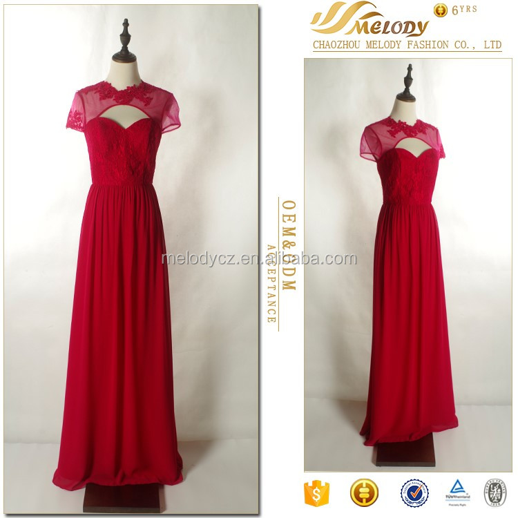 Long red lace dress with competitive price open fork hot sale causal dress in arabic 2016