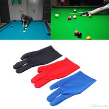 Professional 3 Color 1Piar Durable Nylon 3 Fingers Glove for Billiard Pool Snooker Cue Shooter Black