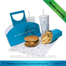 Take away fast food packing wax coated paper food box for food grade