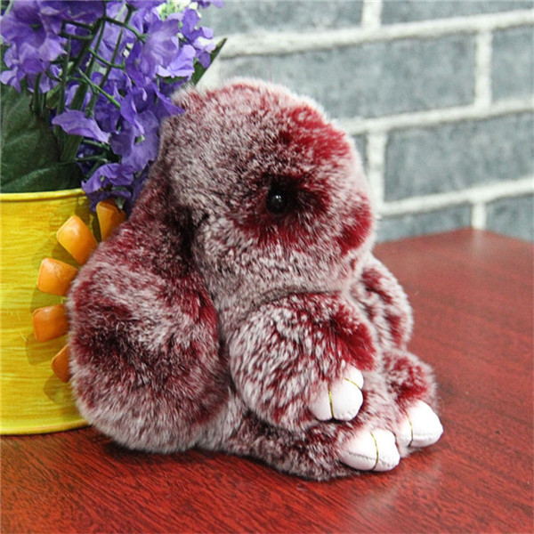 100% Real Genuine Rex rabbit Furs Keychain Pendant Bag Car Charm Tag Cute Mini Rabbit Toy Doll Real Fur Monster Keychains F#91