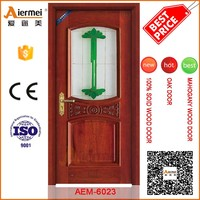 single swing real solid wood interior door with glass