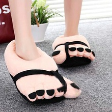 Pretty Funny Winter Indoor Toe Big Feet Warm Soft Plush Slippers Nice Slippers Woman