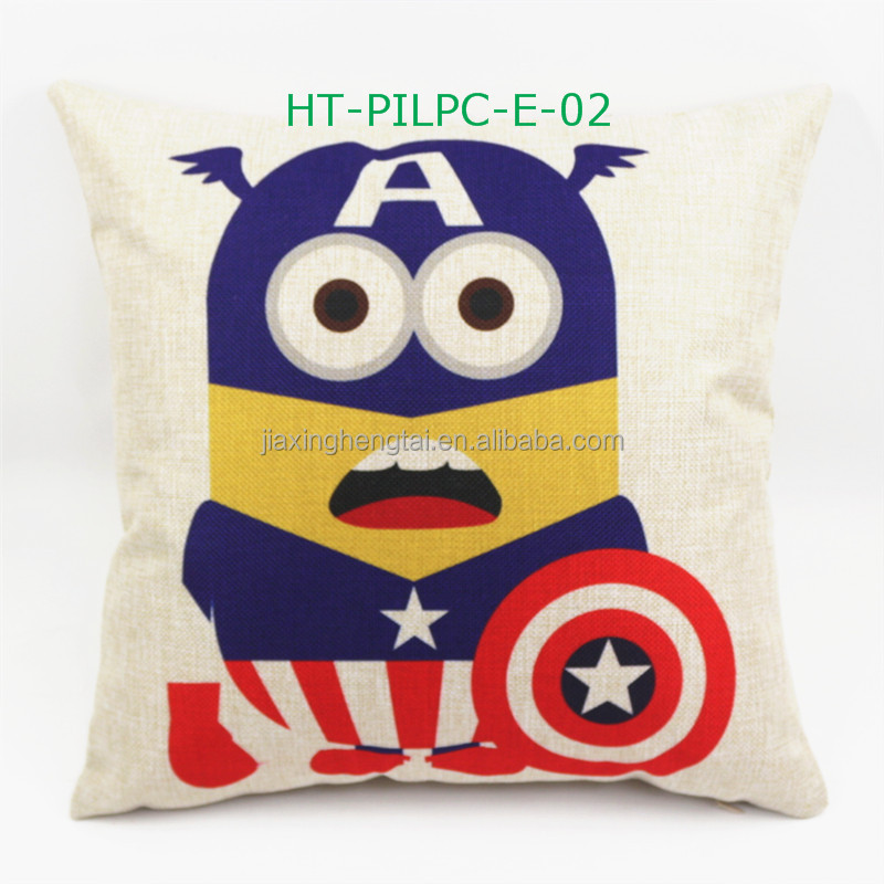 Vintage Linen Cotton Comic Cartoon Super Heroes Photo Print Custom Cute Pillow Cover Cushion Cover HT-PILPC-E-01-11
