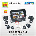 7 inch vehicle waterproof 4 quad monitor with camera system BY-C08713MQ-4