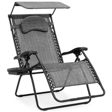 Leisure Outdoor Folding Zero Gravity Canopy Beach Lounge Chair with Sun Shade