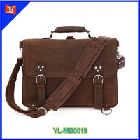 Hot sell high quality vintange crazy horse leather messenger bag with 15 inch laptop messenger bag