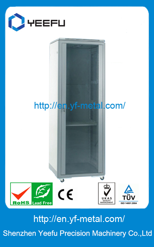 600W Glass door ,SPCC Econonical Network Cabinet+Quick installed +L Rail+bottom cable entry