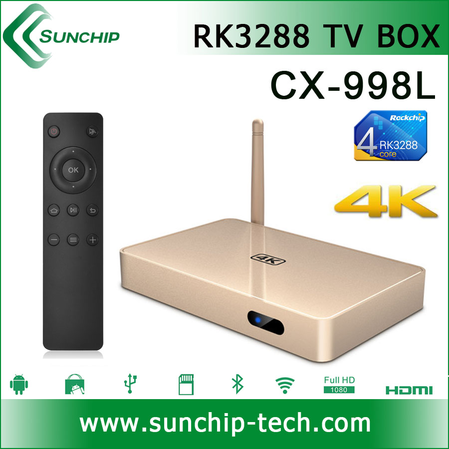 SUNCHIP 998L android tv box H.265 decoder box cable tv android tv box rk3288 with hd4k
