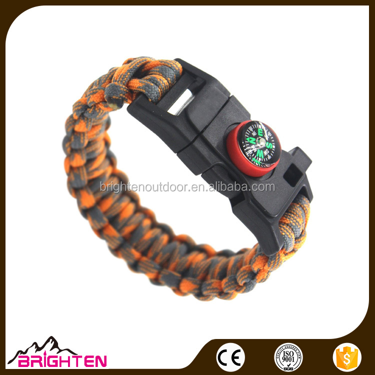 Hiking Multi Tool Paracord Bracelet weaves style with Camp Fire Starter