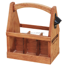 hot selling FSC custom pine 6 pack wooden beer wine whiskey glass bottle storage box tote carrier with can bottle opener