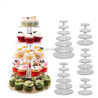 Assembly round cake stand 4 tiers acrylic custom cupcake stands manufacturer