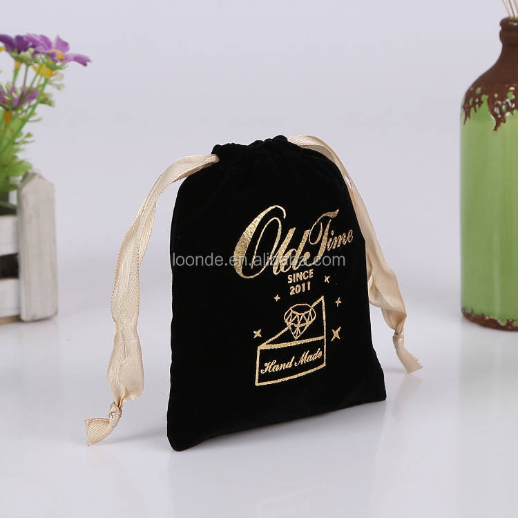 personalized chic wedding favor bags gold foil bag flannel cosmetic bags