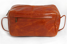 Boshiho oil waxy cowhide leather bag cosmetic case