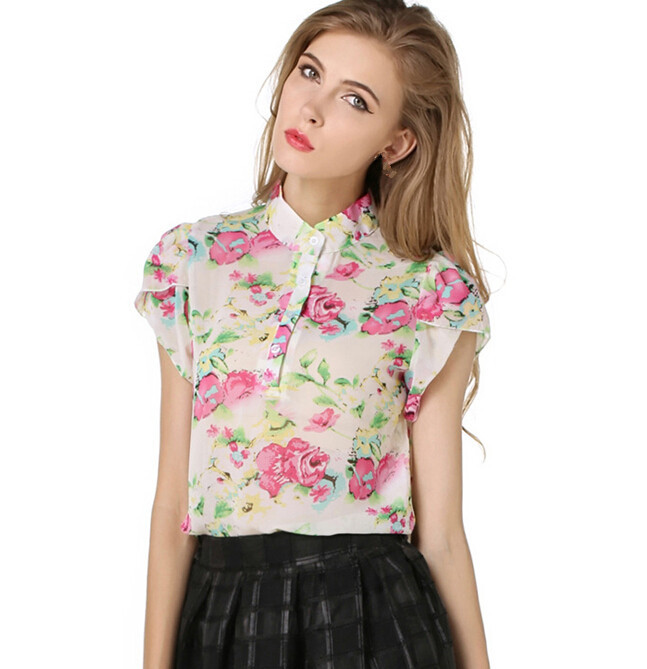 d46810a short sleeve floral chiffon summer blouse women