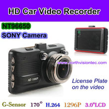 1296P hd car driving video recorder with sony chip, license displaying function