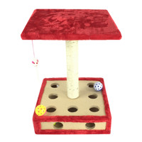 Small Wood Box Puzzle Cat Scratching Climbing frame Tree with Bell