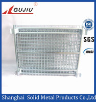 folding wire mesh roll cage container for warehouse storage