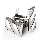 Classic Cuff Links Polished Finish Stainless Steel Luxury French Tuxedo Shirt for Men