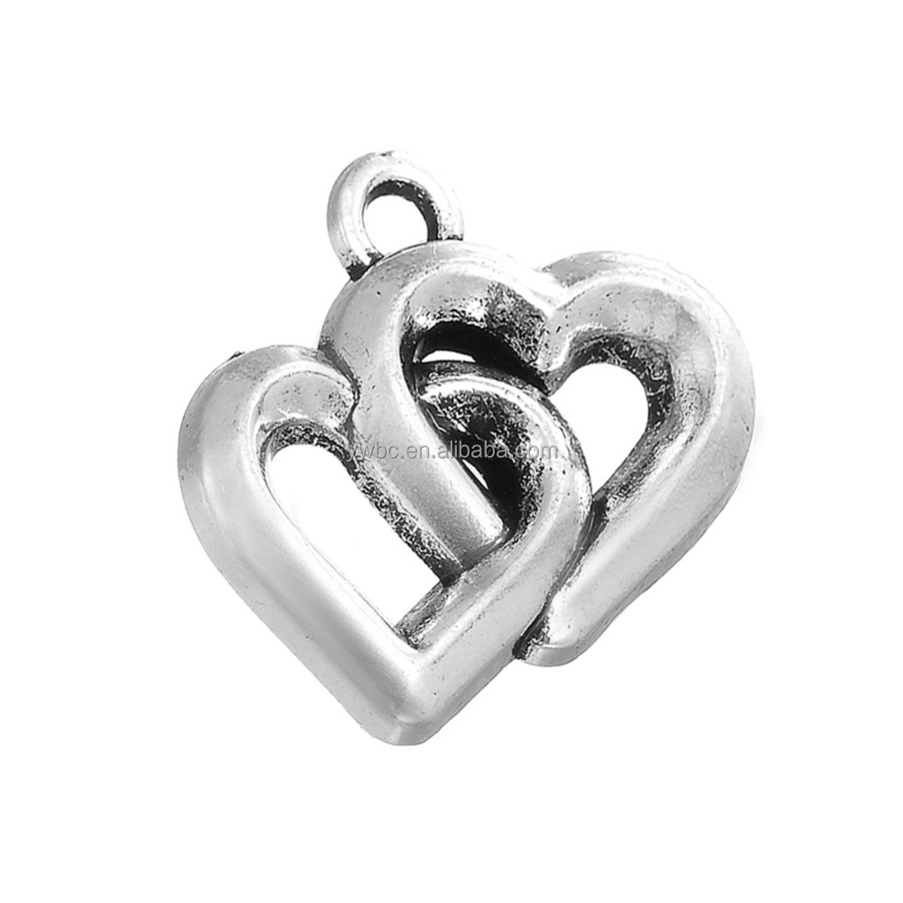 Handmade Antique Silver Hollow Overlap Double Heart Charms