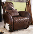 vintage living room sofa/Brown genuine leather chair 2006