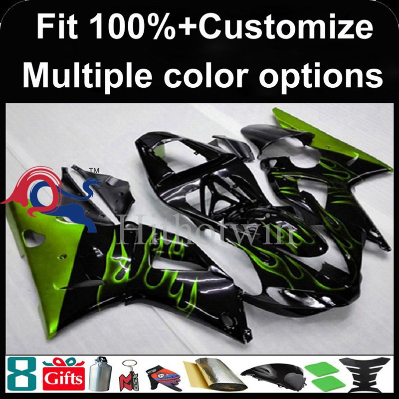 Injection mold green flames black motorcycle cowl for Yamaha YZFR1 2000-2001 00 <strong>01</strong> YZF <strong>R1</strong> 2000 2001 00-<strong>01</strong> ABS Plastic <strong>Fairing</strong>