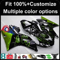 Injection mold green flames black motorcycle cowl for Yamaha YZFR1 2000-2001 00 01 YZF R1 2000 2001 00-01 ABS Plastic Fairing