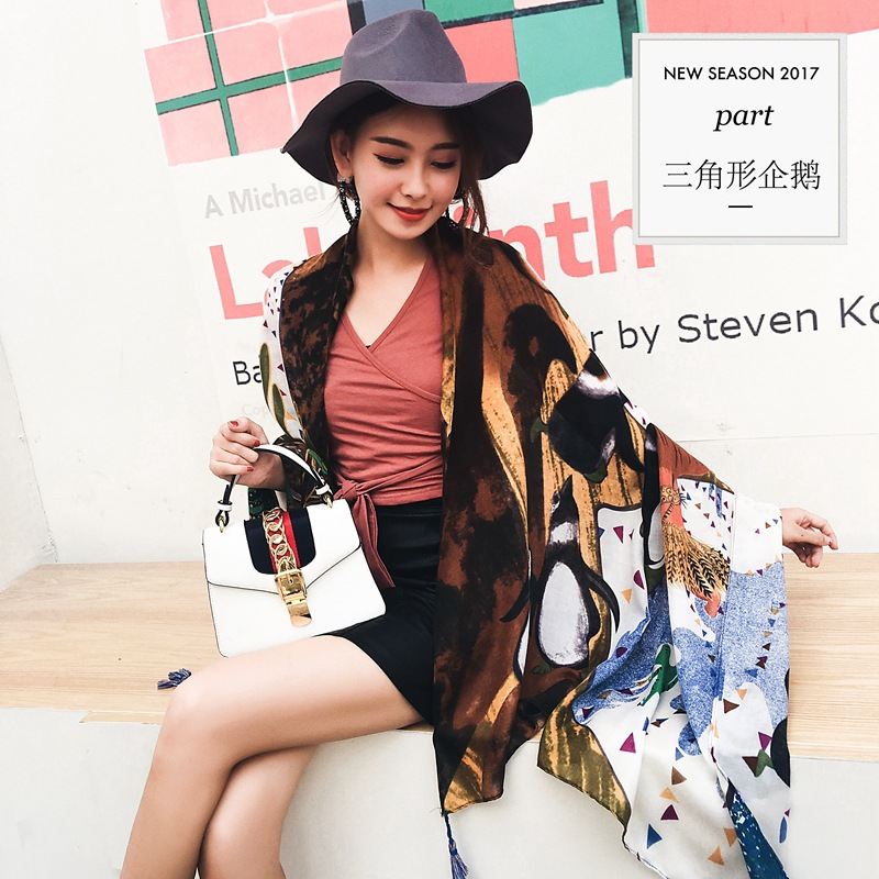 National style women silk scarf beach towel twill cotton round for autumn winter