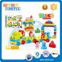 86 Pcs cartoon square train boy and girl educational ABS plastic building block toys