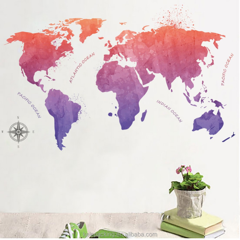 Customized Printing Chinese Ink Painting Style World Map Wall Sticker for Office Clasroom Shop Study